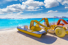 Platja de Alcudia beach in Mallorca Majorca. At Balearic islands of Spain Stock Photo