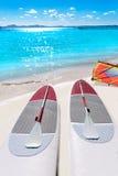 Platja de Alcudia beach Paddle surf board Mallorca. Platja de Alcudia beach Paddle surf board in Mallorca Majorca at Balearic islands Stock Images