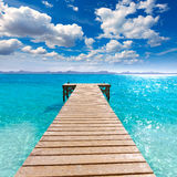 Platja de Alcudia beach pier in Mallorca Majorca. At Balearic islands of Spain Stock Photos