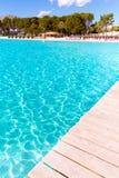 Platja de Alcudia beach pier in Mallorca Majorca Stock Image