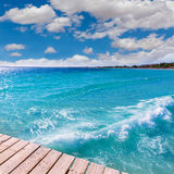Platja de Alcudia beach pier in Mallorca Majorca. At Balearic islands of Spain Stock Images