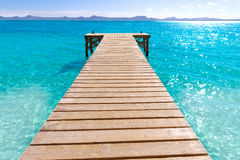 Platja de Alcudia beach pier in Mallorca Majorca. At Balearic islands of Spain Royalty Free Stock Image