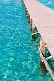 Platja De Alcudia plaży molo w Mallorca Majorca Zdjęcia Royalty Free