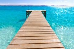 Platja De Alcudia plaży molo w Mallorca Majorca Obraz Royalty Free
