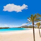 Platja de Alcudia strand i Mallorca Majorca Royaltyfri Bild