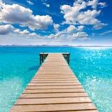 Platja DE Alcudia strandpijler in Mallorca Majorca Stock Foto's
