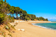 Platja de Sant Marti strand i La Escala, Spanien Royaltyfri Bild