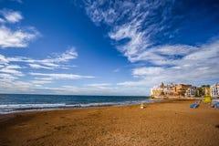 Platja de Sant Sebastià, Sitges, Spain Stock Image