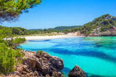 Platja des Bot beach. In summer sunny day at Menorca Island, Balearic Islands, Spain Stock Images