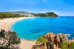 Platja Fenals strand i Lloret de Mar Costa Brava Arkivfoton