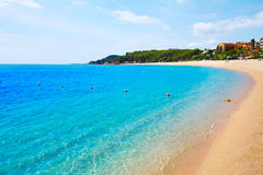 Platja Fenals strand i Lloret de Mar Costa Brava Arkivfoto