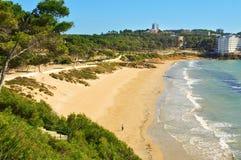 Platja Llarga beach, in Salou, Spain. A view of Platja Llarga beach, in Salou, Spain Royalty Free Stock Image