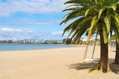 Platja Nova beach in Roses, Spain Royalty Free Stock Images
