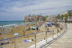 Platja Sant Sebastia beach at Mediterranean Sea in Sitges Stock Photos