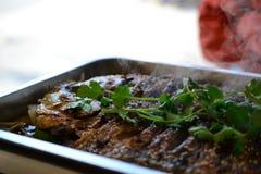 Plato asado de los mariscos del estilo chino de los pescados, comida china imágenes de archivo libres de regalías
