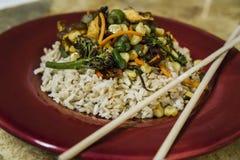 Plato asiático de la verdura y del arroz Imagen de archivo