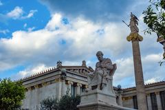Plato and athena statues. At academy of athens, greece Stock Image