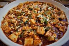 Plato chino Mapo Doufu, Mapo-queso de soja del queso de soja fotos de archivo