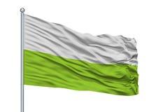 Plato City Flag On Flagpole, Colombia, Magdalena Department, isolato su fondo bianco royalty illustrazione gratis