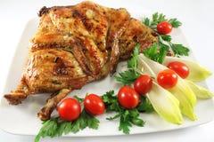 Plato con el pollo asado a la parilla Fotografía de archivo