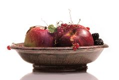 Plato con las frutas Fotografía de archivo