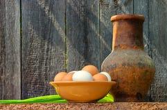 Plato con los huevos frescos Foto de archivo libre de regalías