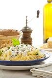 Plato de Carbonara de los espaguetis Foto de archivo