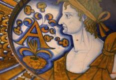 Plato de cerámica antiguo de la cerámica del renacimiento Foto de archivo