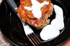 plato de las Moussaka-patatas Fotografía de archivo