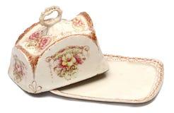 Plato de mantequilla flor-adornado inglés Imagen de archivo libre de regalías
