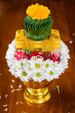 Plato de ofrecimiento tailandés con las velas para la ceremonia propicia Fotografía de archivo