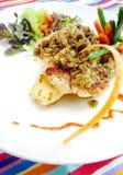 Plato de pescados en el café de Bali foto de archivo libre de regalías