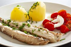 Plato de pescados de la caballa con las patatas, las cebolletas y la ensalada del tomate El pescado graso, aceitoso es una fuente fotografía de archivo