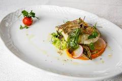 Plato de pescados - prendedero de pescados frito del zander Imagen de archivo libre de regalías