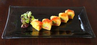 Plato de pescados servido en restaurante gastrónomo Imagen de archivo