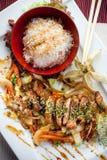 Plato del arroz y de la carne Foto de archivo