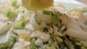 Plato del Calamari con las verduras almacen de video