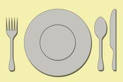 Plato del cuchillo de la rana de la cuchara Foto de archivo libre de regalías