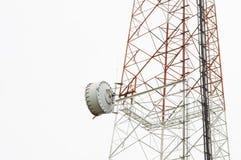 Plato del primer en torre de la telecomunicación con el backg del blanco del aislante imagenes de archivo
