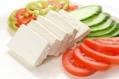 Plato del queso de queso Feta Imágenes de archivo libres de regalías