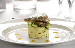 Plato gastrónomo de color salmón del restaurante Fotos de archivo
