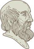 Plato Greek Philosopher Head Mono-Lijn vector illustratie