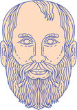 Plato Greek Philosopher Head Mono Line Royalty Free Stock Photo
