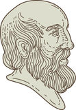 Plato Greek Philosopher Head Mono Line Royalty Free Stock Photography