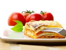 Plato italiano del lasagna fotografía de archivo