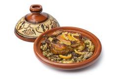 Plato marroquí con el pollo y el limón Fotografía de archivo libre de regalías