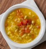 Plato mediterráneo de la sopa del calabacín y del tomate Imágenes de archivo libres de regalías