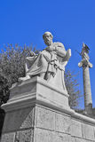 Plato the philosopher and Athena the godess of wisdom statue. Athens Greece Royalty Free Stock Photo