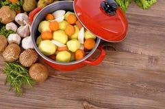Plato rojo de la cazuela con las verduras y las hierbas del invierno fotos de archivo libres de regalías