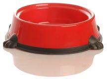 Plato rojo del alimento de perro imagenes de archivo